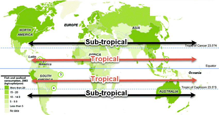 tropical and sub-tropical range map